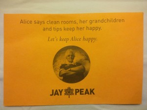 Jay Peak housekeeping tip envelope